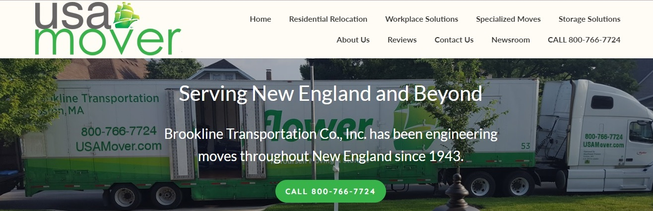 The new home page for the website for Brookline Transportation, Inc. (BTI), a Mayflower Van Lines agent specializing in commercial, lab, medical, science and residential moves. BTI recently upgraded its website, usamover.com.